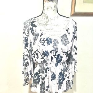 Free People Butterfly Sleeve Floral Top